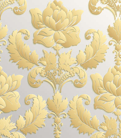 gold leafs: Wallpaper in the style of Baroque . damask seamless floral pattern . Rose ornament .