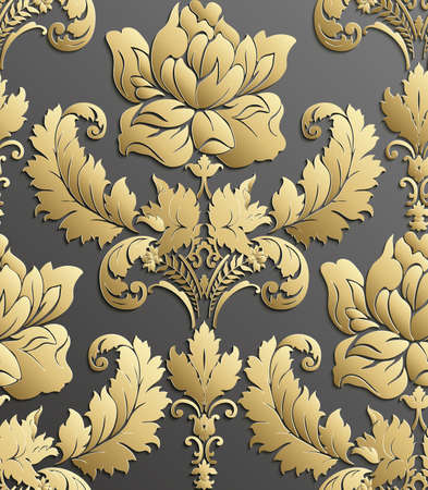 gold leafs: Wallpaper in the style of Baroque . Vector damask seamless floral pattern . Rose ornament . Illustration