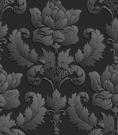 tillable: Wallpaper in the style of Baroque . damask seamless floral pattern . Rose ornament .