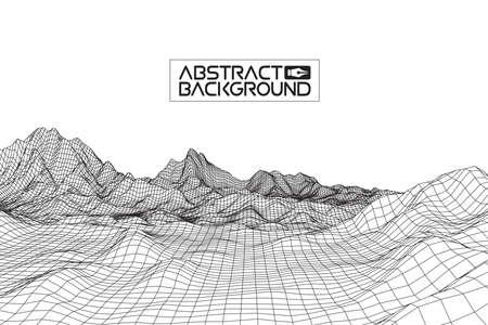 vector de fondo abstracto alambre paisaje. rejilla ciberespacio. ilustración de alambre vector tecnología 3D. paisaje alambre digital para presentaciones. Ilustración de vector