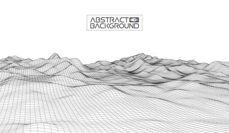 grid: Abstract vector wireframe landscape background. Cyberspace grid. 3d technology wireframe vector illustration. Digital wireframe landscape for presentations .