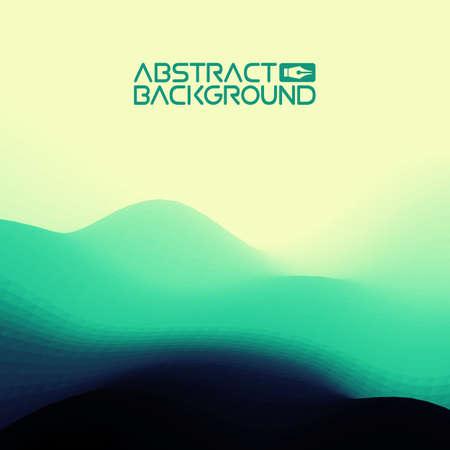 3D-landschap achtergrond. groen naar blauw Gradient Abstract Vector Illustration.Computer Art Design Template. Landschap met bergtoppen