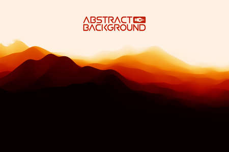 3D landscape Background. Black red Gradient Abstract Vector Illustration.Computer Art Design Template. Landscape with Mountain Peaks Vettoriali