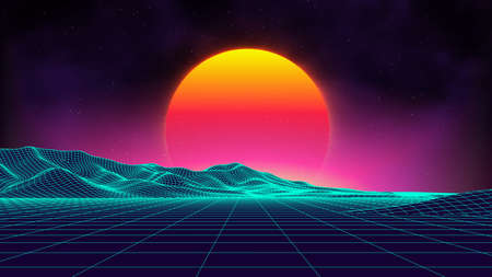 Retro background futuristic landscape 1980s style. Digital retro landscape cyber surface. Retro music album cover template : sun, space, mountains . 80s Retro Sci-Fi Background Summer Landscape. Ilustrace