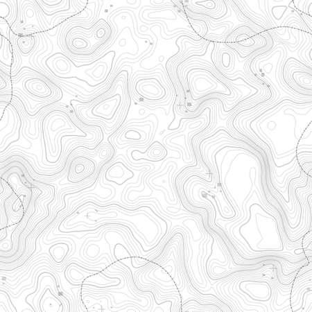 シームレス パターン。シームレス テクスチャのコピーのためのスペースと地形図の背景。地理グリッド抽象的なベクトル イラスト。山のハイキン