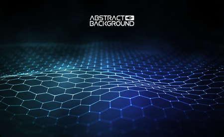 Futuristic hexagon vector illustration. Futuristic hexagon vector illustration. HUD element. Technology concept. Artificial intelligence. Big data.