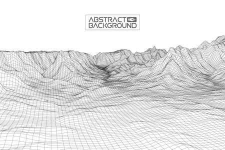 Abstract wireframe landscape background. Cyberspace grid. 3d technology wireframe illustration. Digital wireframe landscape for presentations .