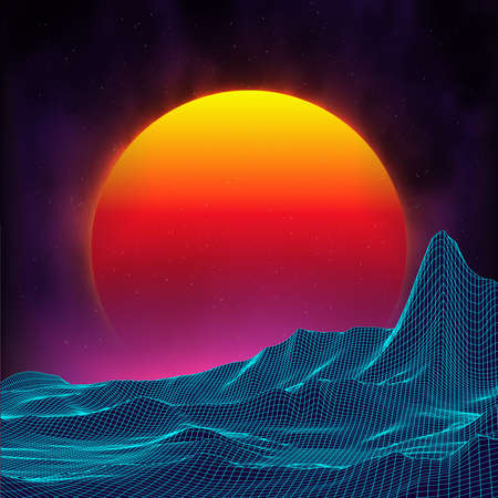Retro tło futurystyczny krajobraz 1980s stylu. Cyfrowe retro krajobraz powierzchni cyber. Szablon coveru albumu muzycznego z retro: słońce, przestrzeń, góry. Lat 80. Retro Sci-Fi Tło Lato Krajobraz. Ilustracje wektorowe