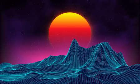 レトロ背景未来風景 1980 年代スタイル。デジタルのレトロな風景サイバー表面。レトロな音楽アルバム カバー テンプレート: 太陽, スペース, 山。80