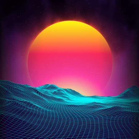 Retro background futuristic landscape 1980s style. Digital retro landscape cyber surface. Retro music album cover template : sun, space, mountains . 80s Retro Sci-Fi Background Summer Landscape. Illustration
