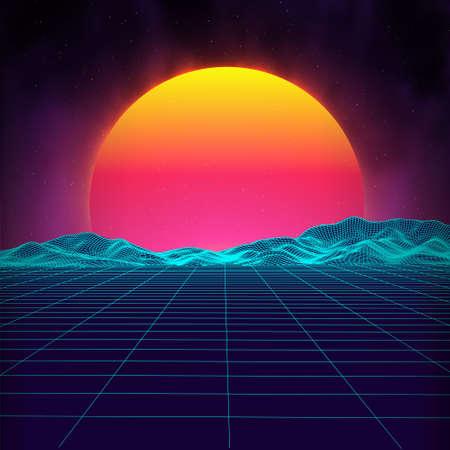 dancing club: Retro background futuristic landscape 1980s style. Digital retro landscape cyber surface. Retro music album cover template : sun, space, mountains . 80s Retro Sci-Fi Background Summer Landscape. Illustration