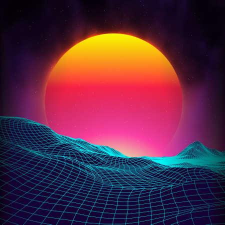 electronic music: Retro background futuristic landscape 1980s style. Digital retro landscape cyber surface.