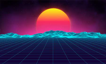 Estilo retro de los años 80 del paisaje futurista retro del fondo. Superficie retro del cyber del paisaje de Digitaces. Plantilla retro de la cubierta del álbum de la música: sol, espacio, montañas. Paisaje retro de la ciencia ficción 80s Paisaje del verano. Foto de archivo - 82916311