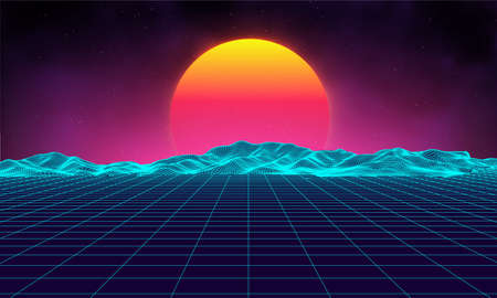 Retro background futuristic landscape 1980s style. Digital retro landscape cyber surface. Retro music album cover template : sun, space, mountains . 80s Retro Sci-Fi Background Summer Landscape. Illustration