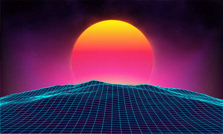 Retro background futuristic landscape 1980s style. Digital retro landscape cyber surface. Retro music album cover template : sun, space, mountains . 80s Retro Sci-Fi Background Summer Landscape. Stock Photo