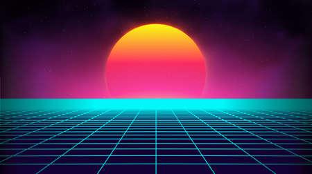 Retro background futuristic landscape 1980s style. Digital retro landscape cyber surface. Retro music album cover template : sun, space, mountains . 80s Retro Sci-Fi Background Summer Landscape. 스톡 콘텐츠