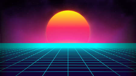 Retro background futuristic landscape 1980s style. Digital retro landscape cyber surface. Retro music album cover template : sun, space, mountains . 80s Retro Sci-Fi Background Summer Landscape. Stockfoto