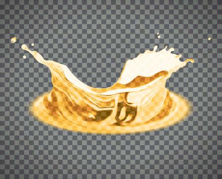 Vector beer splash isolated on light background