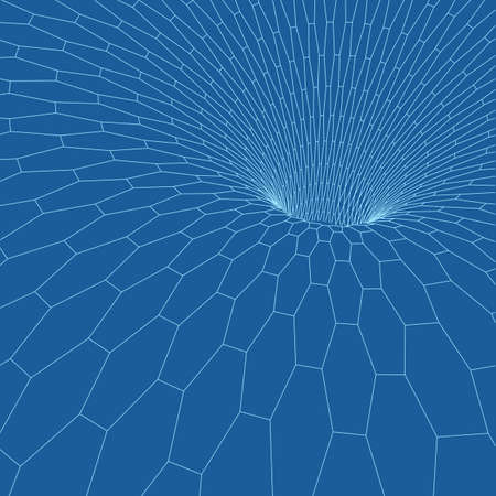 donut style: Wireframe torus with connected lines and dots . Mesh polygonal element. Vector Illustration EPS10.