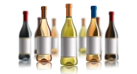 Red wine bottle. Set of white, rose, and red wine bottles. isolated on white .