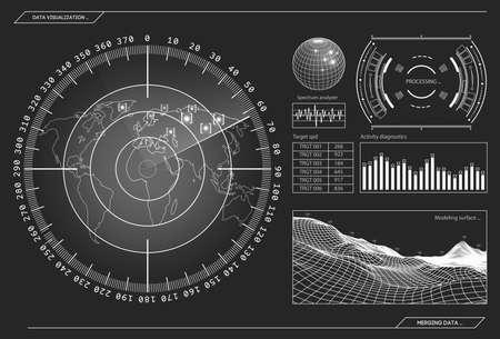 Military radar Screen with target