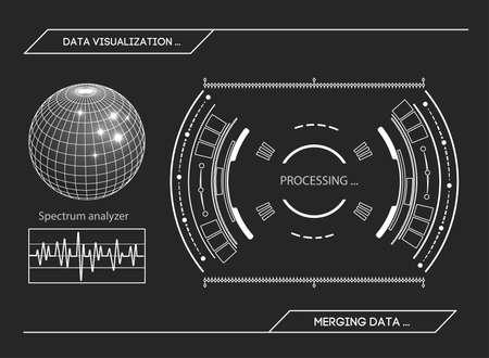 dashboard: Futuristic HUD interface Stock vector illustration. Illustration