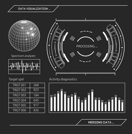 Futuristic HUD interface Stock vector illustration. 矢量图像