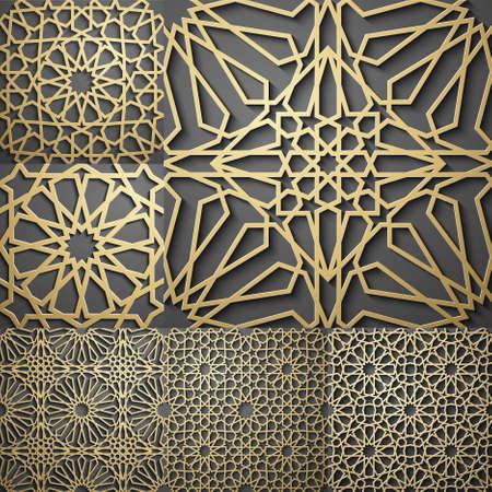 이슬람 패턴입니다. 원활한 아랍어 기하학적 패턴, 동쪽 장식, 인도 장식, 페르시아어 모티프, 3D. 벽지, 패턴 채우기, 웹 페이지 배경에 끝없는 질감을  일러스트