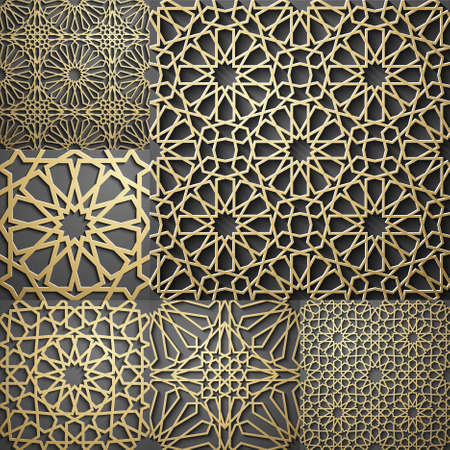 Islamica del modello. Senza soluzione di continuità araba disegno geometrico, ornamento est, ornamento indiano, motivo persiano, 3D. tessitura Endless può essere utilizzato per carta da parati, riempimenti a motivo, sfondo della pagina web. Vettoriali