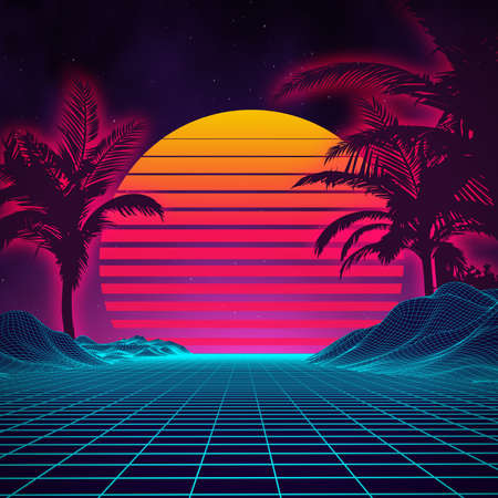 Retro background futuristic landscape 1980s style. Digital retro landscape cyber surface. 80s party background . Retro 80s fashion Sci-Fi Background Summer Landscape. Vettoriali