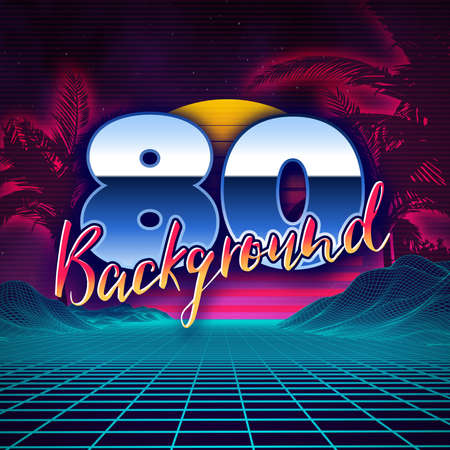 electronic background: Retro background futuristic landscape 1980s style. Digital retro landscape cyber surface. 80s party background . Retro 80s fashion Sci-Fi Background Summer Landscape. Illustration