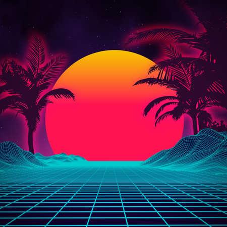 복고풍 배경 미래형 프리 1980 년대 스타일입니다. 디지털 복고 프리 사이버 표면입니다. 80 년대 파티 배경입니다. 레트로 80 년대 패션 공상 과학 Fi 배