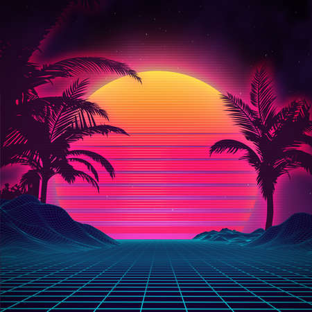 Retro background futuristic landscape 1980s style. Digital retro landscape cyber surface. 80s party background . Retro 80s fashion Sci-Fi Background Summer Landscape. Stock Illustratie