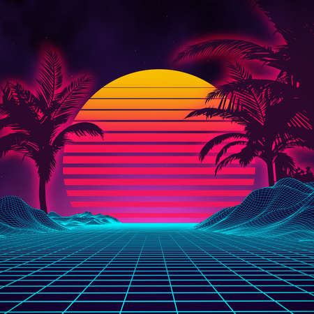 Retro background futuristic landscape 1980s style. Digital retro landscape cyber surface. 80s party background . Retro 80s fashion Sci-Fi Background Summer Landscape. Çizim