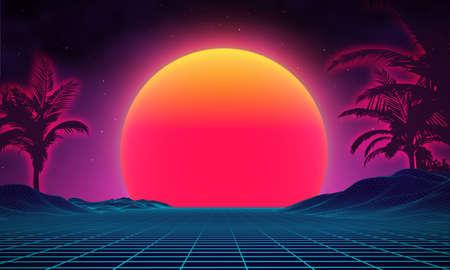 Retro background futuristic landscape 1980s style. Digital retro landscape cyber surface. 80s party background . Retro 80s fashion Sci-Fi Background Summer Landscape. Vectores