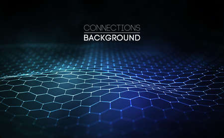 Network connection concept blue vector illustration. Futuristic hexagon perspective wide angle lanscape. Futuristic honeycomb concept. 3d landscape. Big data digital background. Stock Vector - 87676821
