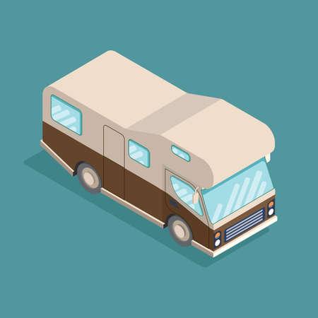Isometrischer RV-Camper. Auto für eine Familie. Kann für Werbung, Infografiken Spiel oder Mobile Apps Symbol verwendet werden. Standard-Bild - 87677858