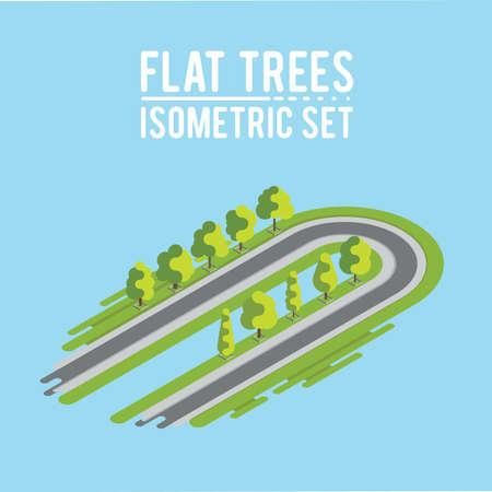 Trees isometric Ilustração
