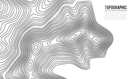 地形図の等高線背景。高度の等高線。等高線のベクトル。地理世界の地形マップ グリッド抽象的なベクトル イラスト。山のハイキング トレイル ラ
