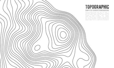 Topographic map contour with elevation; Contour map; Geographic World Topography map grid abstract illustration. Ilustração