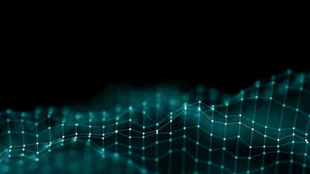 3 d の抽象的な背景のネットワーク コンセプト。将来背景技術の図。3 d の風景です。大きなデータです。接続点と暗い背景の線とワイヤ フレームの風景です。