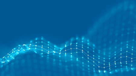 Abstraktes Hintergrund-Netzwerkkonzept des hintergrundes 3d. Zukünftige Hintergrund Technologieillustration. 3D Landschaft. Große Daten. Wireframe-Landschaft mit Verbindungspunkten und -linien auf dunklem Hintergrund. Standard-Bild