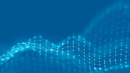 Concepto de red de fondo abstracto 3D. Fondo futuro Ilustración de tecnología. Paisaje 3D Big data. Paisaje de estructura metálica con puntos de conexiones y líneas sobre fondo oscuro. Foto de archivo