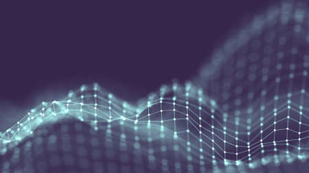 3d Abstract Background Network concept . Future background Technology illustration. 3d landscape. Big data. Wireframe Landscape with connections dots and lines on dark background.