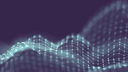 Concepto de red de fondo abstracto 3D. Fondo futuro Ilustración de tecnología. Paisaje 3D Big data. Paisaje de estructura metálica con puntos de conexiones y líneas sobre fondo oscuro.