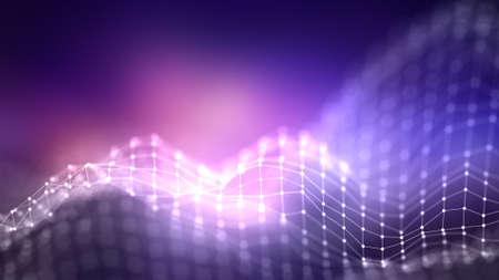 3d abstrait concept de réseau. Illustration de la technologie future. Paysage 3D. Big Data. Paysage filaire avec des points de connexions et des lignes sur fond sombre.