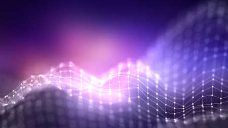 Abstraktes Hintergrund-Netzwerkkonzept des hintergrundes 3d. Zukünftige Hintergrund Technologieillustration. 3D Landschaft. Große Daten. Wireframe-Landschaft mit Verbindungspunkten und -linien auf dunklem Hintergrund.