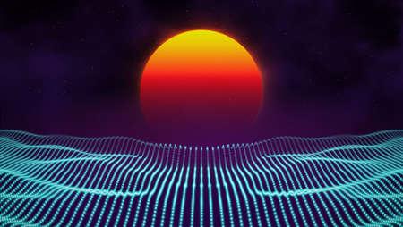 Retro background futuristic landscape 1980s style. Digital retro landscape cyber surface. 80s party background . Retro 80s fashion Sci-Fi Background Summer Landscape. Stock Photo