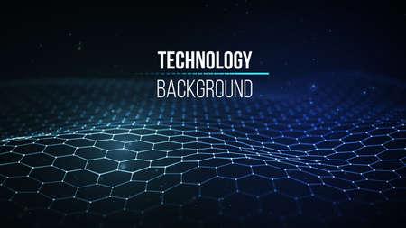 Tecnologia sfondo astratto. Griglia del fondo 3d Tecnologia del cyber Wireframe futuristico della rete metallica di tecnologia di Ai tecnologia. Intelligenza artificiale . Sfondo di sicurezza informatica Archivio Fotografico - 93888251
