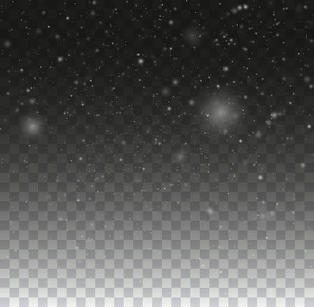 Blurred bokeh particles. Transparent snowflake background. Christmas snow fall winter illustration.  イラスト・ベクター素材
